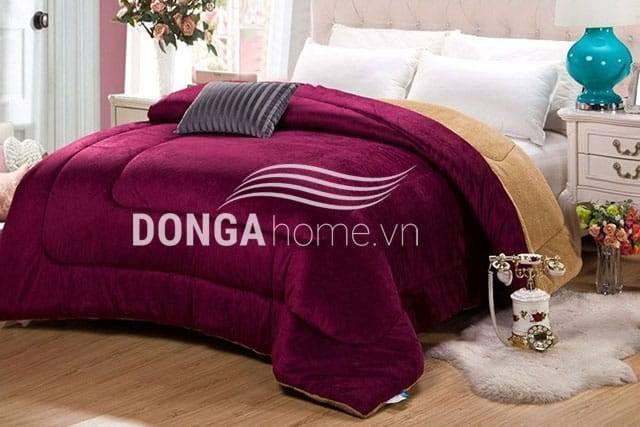 Chăn lông cừu Kyoryo Đỏ Bordeaux 2x2m3