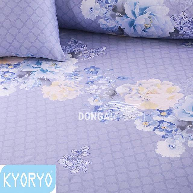 Bộ chăn ga gối Kyoryo Tencel họa tiết Hoa Xanh 7