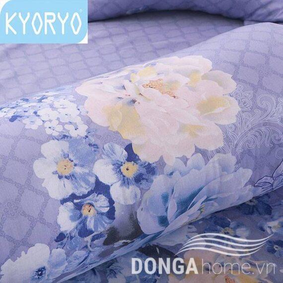 Bộ chăn ga gối Kyoryo Tencel họa tiết Hoa Xanh 8