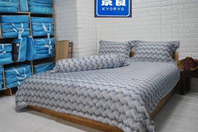 Bộ Chăn Ga Gối Modal gỗ sồi Kyoryo Họa tiết sóng 3D