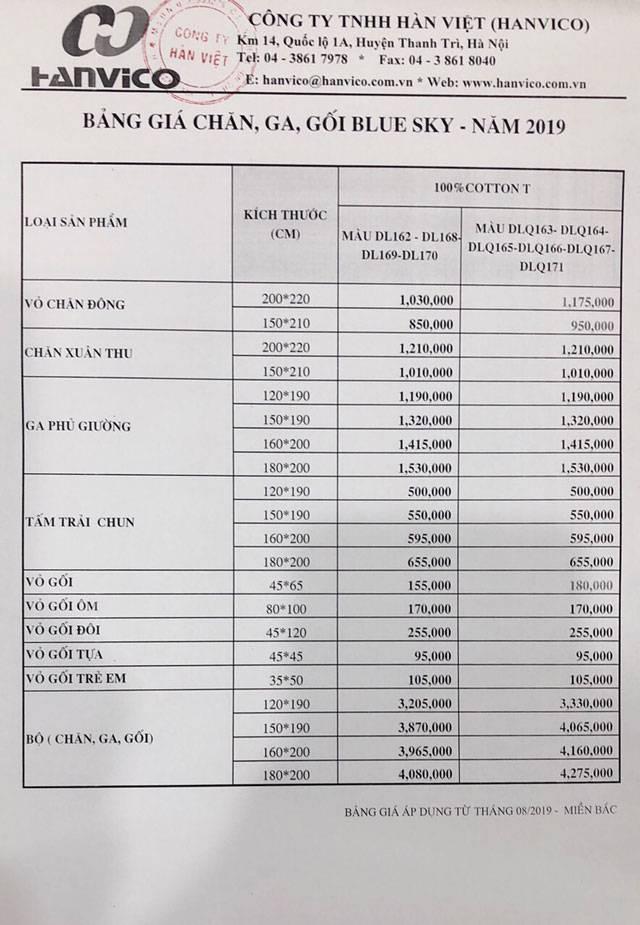 Bảng giá Bộ chăn ga gối Hanvico dòng DL và DLQ