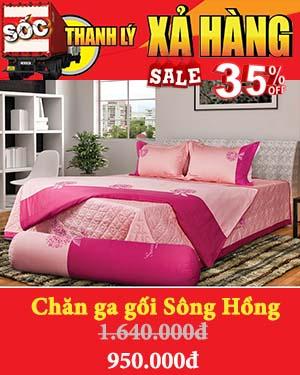 Banner xả kho chăn ga gối đệm Sông Hồng