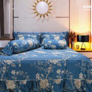 Bộ chăn ga Kyoryo Pro tencel hoa nền xanh Nhật Bản