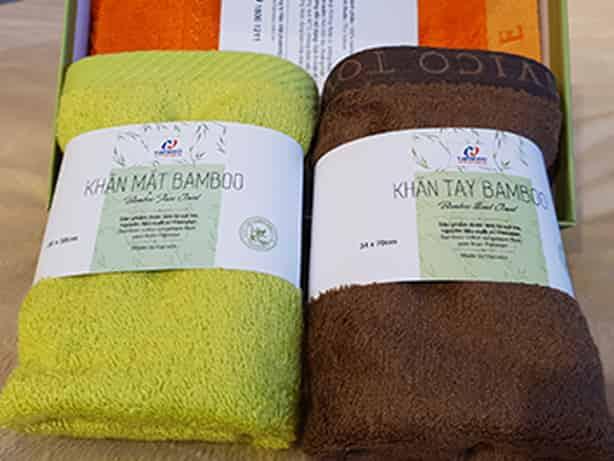 Bộ khăn tắm sợi tre khuyến mại