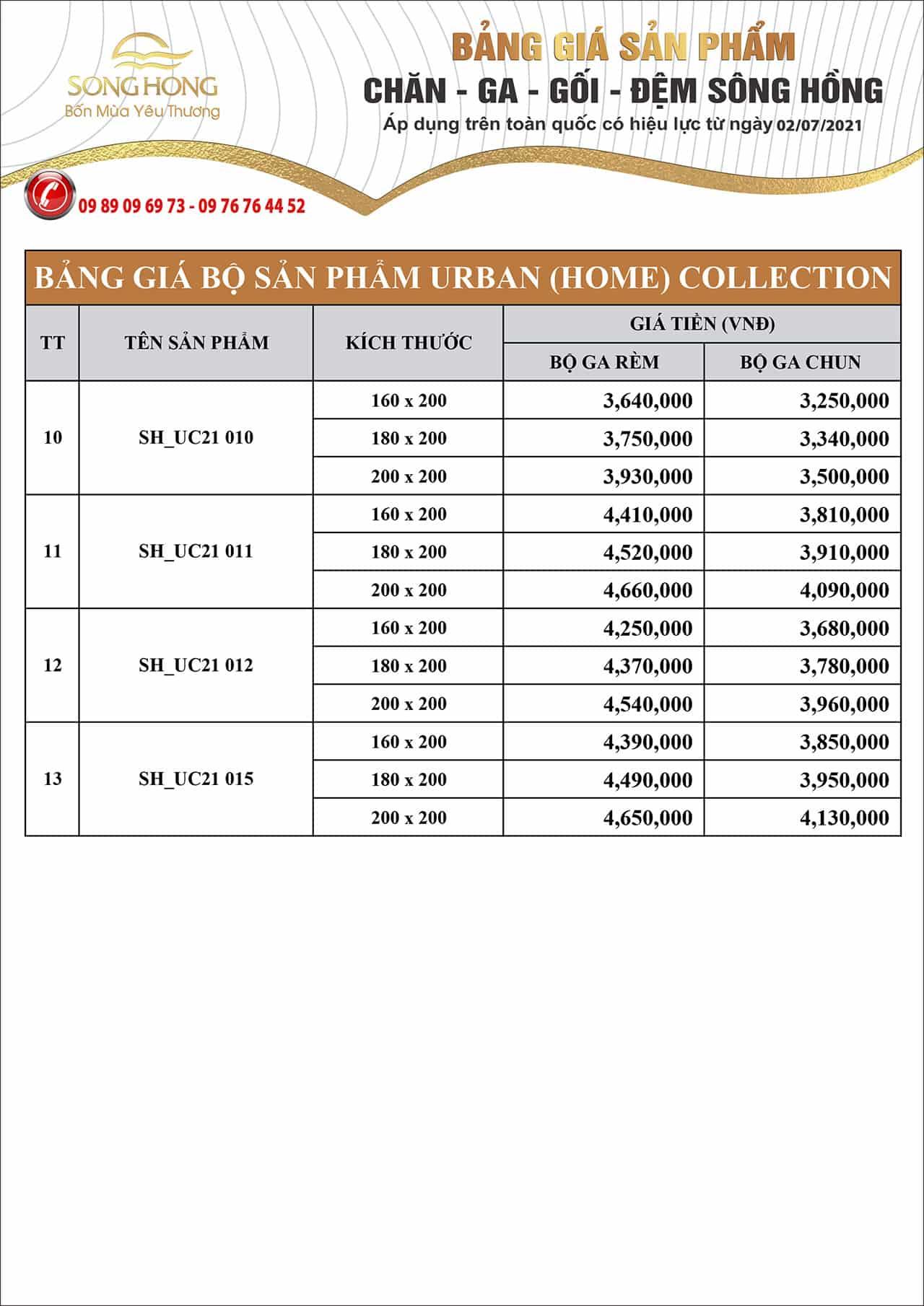 Bảng giá bộ chăn ga gối Sông Hồng Urban (home) collection 2021 - Phần 2