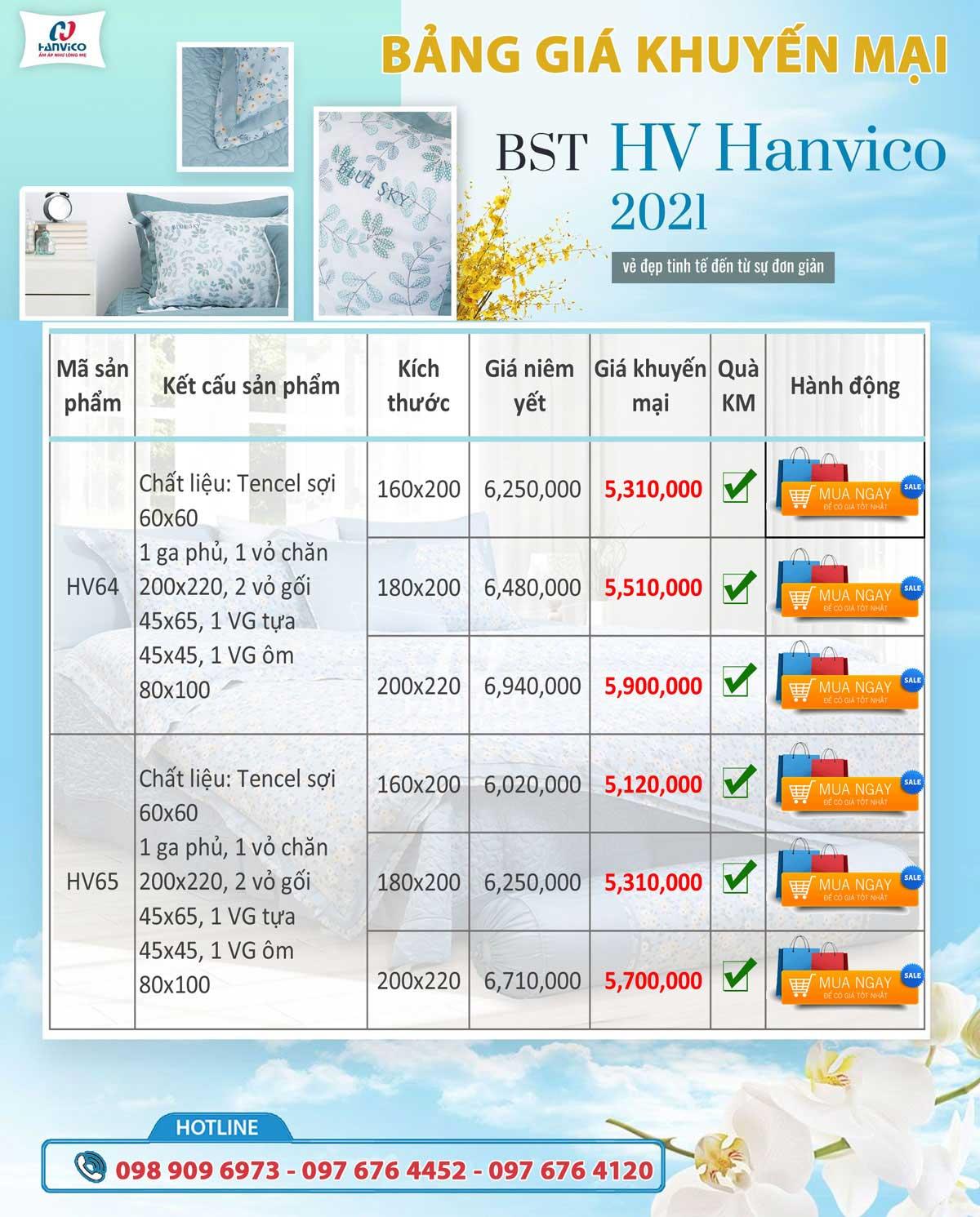 Bộ chăn ga gối Hanvico Bluesky dòng HV bộ sưu tập 2021 - 2022