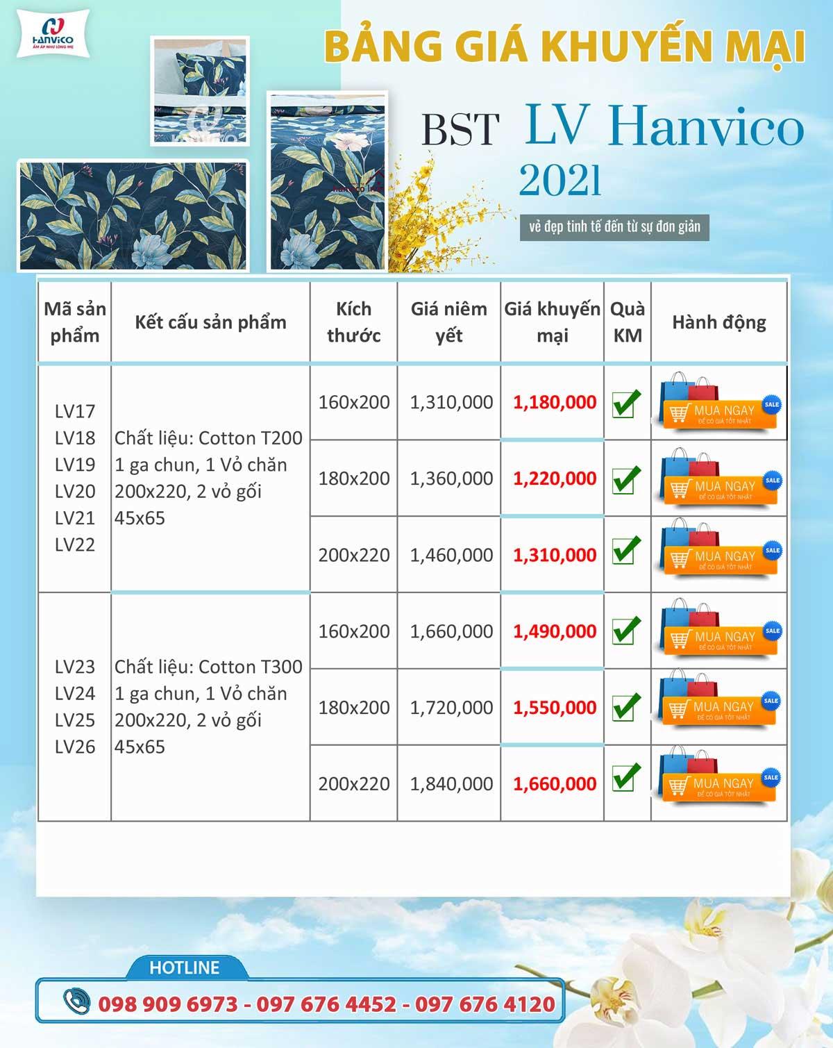 Bảng giá khuyến mại bộ sưu tập Hanvico Livng LV 23