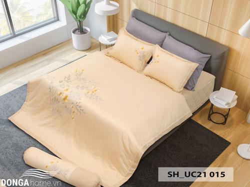 Bộ chăn ga gối Sông Hồng SH_UC21-015 màu vàng thanh mát
